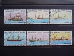 "Nicaragua 1990  N° Y&T  1516/1521  "" Navires à Vapeur London 90  ""  6v.  Used - Nicaragua"