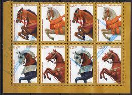 Nicaragua 1996 Haft Sheet 8 V Used Medieval Horse Decorations Horses  Chevaux Cheval Caballos Cavalli Pferd Pferde - Pferde