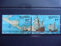 "Nicaragua 1986  N° Y&T  1433/1434  "" 500 Ans Decouverte Amerique  ""  2v.  Used - Nicaragua"