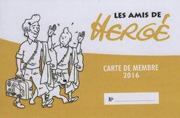 Les Amis De Hergé ADH Carte De Membre 2016 Tintin Kuifje - Hergé
