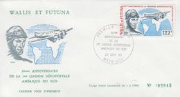 Enveloppe  FDC  1er  Jour    WALLIS  Et  FUTUNA    1ére  Traversée  Aéropostale  De  L' Atlantique  Sud   1980 - FDC