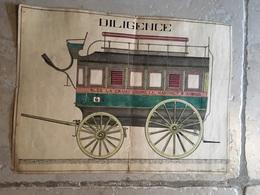AQUARELLE SUR PAPIER ALES LA GRAND COMBE LE MARTINET SAINT AMBROIX DILIGENCE 1928 CEVENNES GARD PEINTRE ART - Watercolours