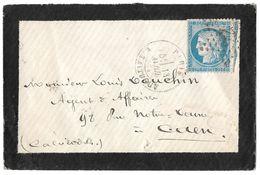 LETTRE Avec N°60/1  86 G1;  ÉTOILE PARIS AVEC CACHET ( R .TAITBOUT ) TTB - 1871-1875 Cérès