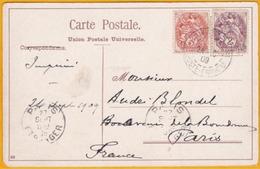 1909 - CP De Constantinople, Turquie, Levant Français Vers Paris, - Type  Blanc 2 C + 3 C -  Sainte Sophie - Levant (1885-1946)