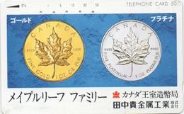 Télécarte Japonaise : Pièces Maple Leaf Du Canada (Or / Platine) - Timbres & Monnaies