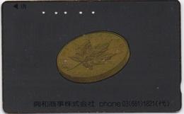 Télécarte Japonaise : Pièce Maple Leaf Du Canada (Or) - Timbres & Monnaies