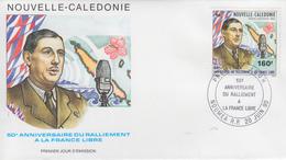 Enveloppe  FDC  1er  Jour  NOUVELLE  CALEDONIE   Charles  DE  GAULLE    Ralliement  à   La  France   Libre   1990 - De Gaulle (Général)