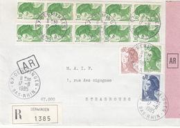 Env Reco Avec AR Affr Y&T 2239 + 2240 + 2318 X 11 Obl OERMINGEN Du 17.8.1985 Adressée à Strasbourg - Postmark Collection (Covers)
