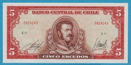 CHILE 5 Escudos 7 Digits Serial #ND (1964)Serie E11 0924243 P# 138 - Chile