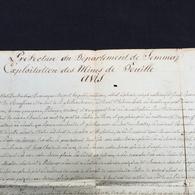Grand Placard Manuscrit 1809 Jemappes Exploitation Houille Charbonnages Charbon Escouffiaux Saint Ghislain - Documents Historiques