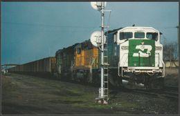 Burlington Northern SD60M #9225, A Ghostly Face - Railcards Postcard - Trains