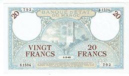 Billet - MAROC - 20F Banque D'Etat Du MAROC. 1 - 3 - 1945 - S.1504 - LUXE - Marokko