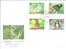 FDC KOREA D SUR 1990 - Schmetterlinge