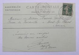 80 MERS LES BAINS Carte Du Palais De Versailles ASSEMBLEE NATIONALE QUESTURE 1920 Du Député De La Marne - Mers Les Bains