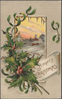 A Merry Christmas, Holly And Mistletoe, 1909 - Embossed Postcard - Other