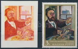 (*) 1967 Festmények III. 3Ft Vágott  Bélyeg Fázisnyomata Kék, Arany és Fekete Színnyomat Nélkül. A Szakirodalomban Ismer - Timbres
