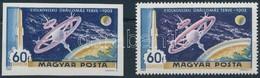 (*) 1969 A Hold Meghódítása 60f Vágott Bélyeg A Világoskék és Arany  Színek Balra és Felfelé Történt Látványos Eltolódás - Timbres