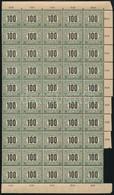 ** 1903 Zöldportó (I.) 100f ívsarki Félívben, Számvízjellel (100.000) (hiányos ívszél) - Timbres