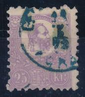 O 1871 Kőnyomat 25kr Ibolya (45.000) Szép Színű Bélyeg, Kék Bélyegzés - Timbres