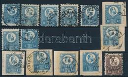 O 1871 Réznyomat 13 X 10kr + 15kr Színváltozatok, Bélyegzések (min. 20.700) - Timbres