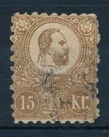O 1871 Kőnyomat 15kr (29.000) (elvékonyodás, Utánfogazott / Thin Papper, Reporforaited) - Timbres