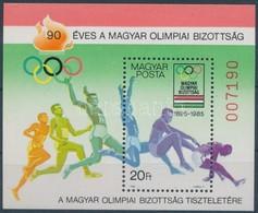 ** 1985 90 éves A Magyar Olimpiai Bizottság Blokk, A Magyar Posta Ajándéka Hátoldali Felirattal (26.000) - Timbres
