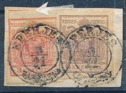 1850 3kr + 6kr Lépcsős Bérmentesítés Kivágáson ,,EPERJES' - Timbres