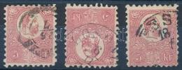 O 1871 3 Db Kőnyomat 5kr, Színárnyalatok (21.000) - Timbres