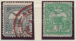 O Turul 1f és 5f ADRIA UNGHERESE Piros és Zöld Bélyegzéssel (Peterdi) - Timbres