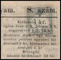 1868 Vasmegyei Lapok 2. évfolyam 8. Szám 1kr Okmánybélyeggel érdekes és Ritka Darab - Timbres