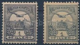 * 1900 Turul 1f Nagyon Ritka Ibolya Szürke Színváltozat, Katalógus Nem árazza Csak Említi (betapadásnyomok) - Timbres