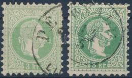 O 1867 3kr Zöld Illetve Sötétzöld Színben Utóbbin Nagy Betűvízjel (16.000++) - Timbres