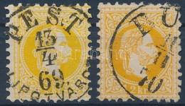 O 1867 2kr Sárga és Narancs Színben, A Sárga Bélyegen Nagy Vízjel - Timbres