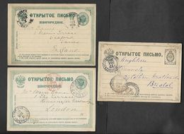 1881.      EMPIRIAL  RUSSIA  THREE  STATIONARY CARDS  SEND  FROM RUSSIA  TO  BRITAIN. - Russia