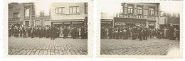 Jolimont 2 Photos De La Fanfare Des Pompiers De Renaix Ronse Prises En Juin 1948 Devant La Bêche D'Or Et Fontenelle Fils - Orte