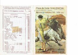 SPAIN 1979 . TAUROMAQUIA - HOJITA PROGRAMA CORRIDA 1 SEPTIEMBRE VALENCIA TOREROS:VICENTE RUIZ EL SORO - MARIO TRIANA -PE - Programas