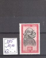 Congo Belge N° 295 ** MNH Cote COB : 10,00 € - 1947-60: Mint/hinged