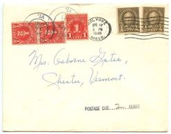 United States 1948 Cover Holyoke MA To Chester VT, ½c. & 1c. Postage Dues - Brieven En Documenten