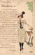 T3 Radlerei I. B&S Wien Serie No. 1044. / Lady With Bicycle, Art Nouveau Postcard S: Raphael Kirchner (EB) - Cartes Postales