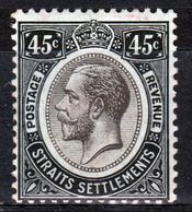Straits Settlements 1912 King George V Forty Five Cent Black/Green With Blue Green  Back  Mounted Mint Stamp. - Straits Settlements