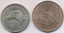 Új-Zéland 1964. 1p Br 'Tui' + 1965. 1F Cu-Ni 'Kiwi' T:2,2- New Zealand 1964. 1 Penny Br 'Tui Bird' + 1965. 1 Florin Cu-N - Unclassified