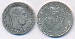 Vegyes: Ausztria 1893. 1K Ag 'Ferenc József' + Svédország 1954TS 1Kr Ag 'VI. Gusztáv' T:3,2 Mixed: Austria 1893. 1 Coron - Unclassified