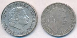 Vegyes: Hollandia 1955. 1G Ag 'Julianna' + Románia 1942. 200L Ag T:2,2- Mixed: Netherlands 1955. 1 Gulden Ag 'Juliana' + - Unclassified