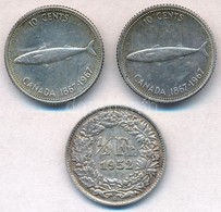 Vegyes: Kanada 1967. 10c Ag (2x) + Svájc 1952. 1/2Fr Ag T:2 Mixed: Canada 1967. 10 Cents Ag (2x) + Switzerland 1952. 1/2 - Unclassified