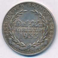 Ausztria 1933. 'Del-Ka 25 éves Jubileum' Jelzett Ag Emlékérem (16,26g/0.900/35mm) T:2 Austria 1933. 'Del-Ka 25th Anniver - Unclassified