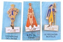 Franciaország 1999. 3xklf Zománcozott Fém Jelvény: 'VIGNERONE DE L'HIVER', 'LE MESSAGER BOITEUX' és 'SUTIE DE CERES' T:1 - Unclassified