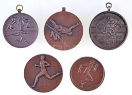 5db-os Vegyes Modern Sportérem Tétel, Közte 1988. 'IBUSZ Félmaraton / Budapest' Fém Sportérem Füllel, 1992. 'Pesti Megye - Unclassified