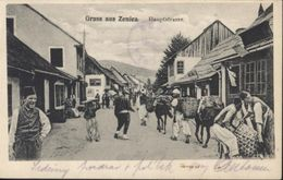 CPA Bosnie Herzegovine Bosnien Herzegovina Gruss Aus Zenica Hauptstrasse Très Animée - Bosnia And Herzegovina