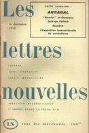 """Revue """" Les Lettres Nouvelles"""" No 34 16 Decembre 1959 Arrabal Marlène Jackson Pollock Hamlet Queneau Envoi 2,50 - Cinema"""