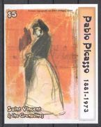 D666 IMPERFORATE SAINT VINCENT ART PABLO PICASSO FEMME ESPAGNOLE SUR FOND ORANGE 1BL MNH - Picasso
